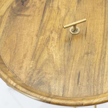 Masuta de cafea rotunda din lemn de mango Medja 60x60x48 cm aurie