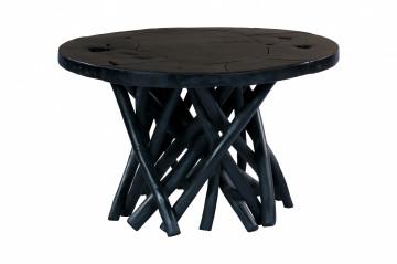 Masuta de cafea rotunda din lemn de tec 60x60x40 cm neagra