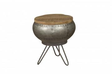 Masuta de cafea rotunda din lemn si metal 35x35x40 cm maro