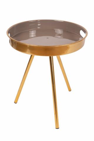 Masuta de cafea rotunda din metal Morrison 38x38x44,5 cm gri/auriu