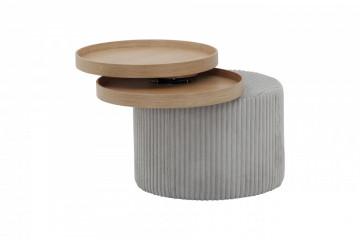 Masuta de cafea rotunda tapitata 50x50x45 cm gri