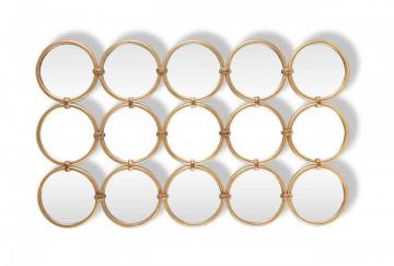 Oglinda dreptunghiulara formata din 15 oglinzi rotunde Coley 120 x 72 x 3 cm