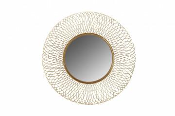 Oglindă rotunda cu rama din fier aurie 75x75x10 cm