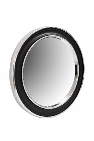 Oglindă rotunda cu rama din fier si MDF negru/argintiu 4x58x58 cm