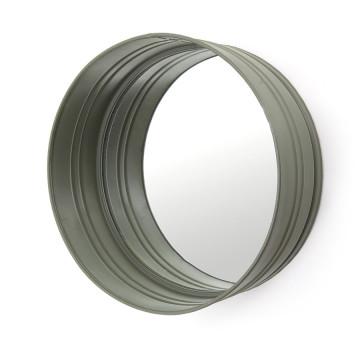 Oglinda rotunda cu rama din fier verde, cu raft, 40 x 40 x 15 cm