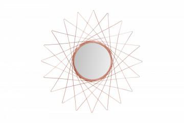 Oglinda rotunda cu rama din metal cupru Soprano, 2cm (L / D) x 79cm (l) x 79cm (H)