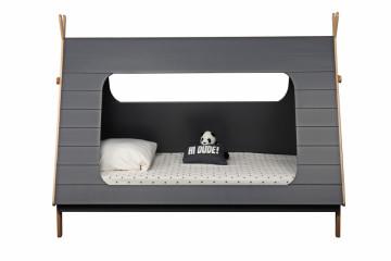Pat pentru copii in forma de cort din pin/MDF gri, 105x215x165 cm