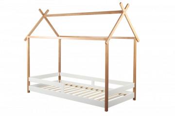 Pat pentru copii sub forma de casa din pin alb, 109x213x180 cm