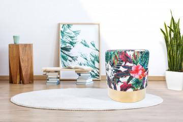 Puf/ Taburet tapitat cu imprimeu floral Novalie multicolor