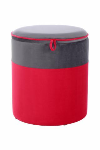 Puf/ Taburet tapitat cu spatiu pentru depozitare Kassandra roz/gri inchis