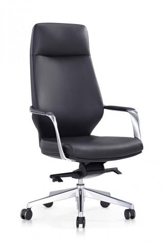Scaun birou rotativ din imitație de piele Carl negru