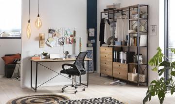 Scaun de birou din piele artificiala negru/gri