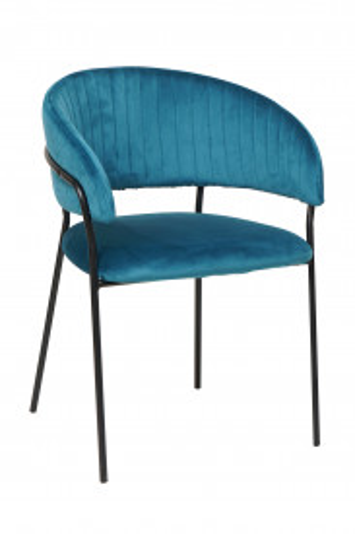 Scaun din catifea cu spatar matlasat turcoaz