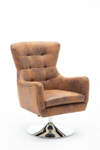 Scaun rotativ din piele artificiala Sit&Chairs maro