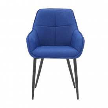 Scaun tapitat cu cadru metalic albastru/negru