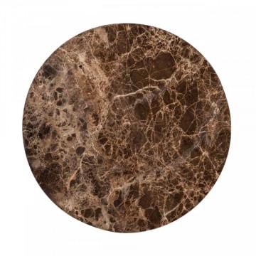 Set 2 masute de cafea rotunde din marmura si metal Dalton 57x45x45 cm maro
