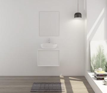 Set 2 piese mobilier pentru baie, alb, 60 cm