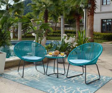 Set 2 scaune cu masa pentru gradina albastre