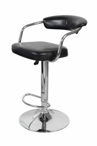 Set 2 scaune de bar rotative din piele sintetică Midnight negre
