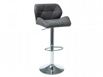 Set 2 scaune de bar tapitate reglabile 62-82 cm gri inchis