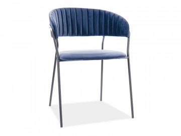 Set 2 scaune din catifea Lira albastru