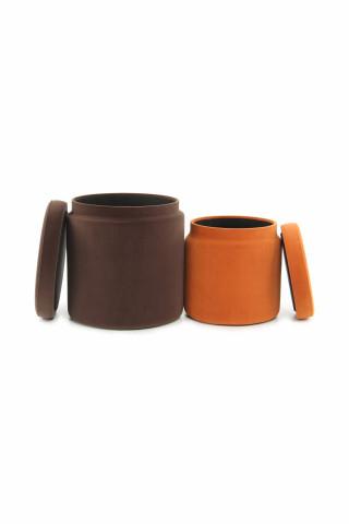 Set 2 tabureti tapitati cu spatiu pentru depozitare Zora maro/portocali
