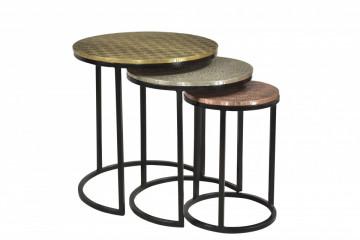 Set 3 masute de cafea rotunde din lemn de mango This&That 45x45x49 cm auriu/argintiu/bronz