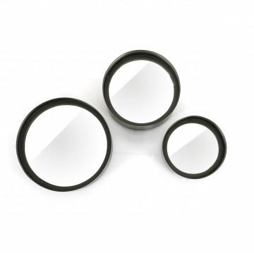 Set 3 oglinzi rotunde cu rama neagra 25,5x7 cm / 21x10 cm / 17x10 cm