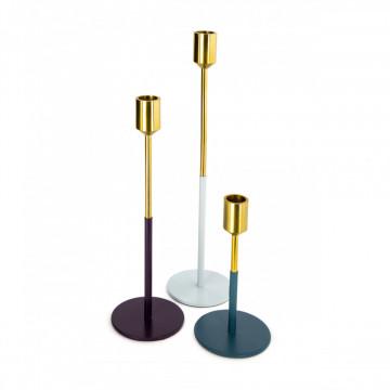 Set 3 suporturi lumanare din metal Saga, auriu pruna/verde/albastru