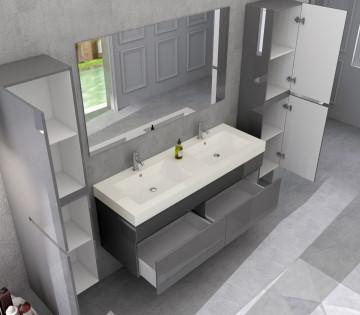 Set 4 piese mobilier din MDF pentru baie gri, 140 cm