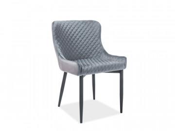 Set 4 scaune din catifea Colin gri / negru