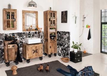 Set 5 piese mobilier pentru baie din lemn de mango Rustic