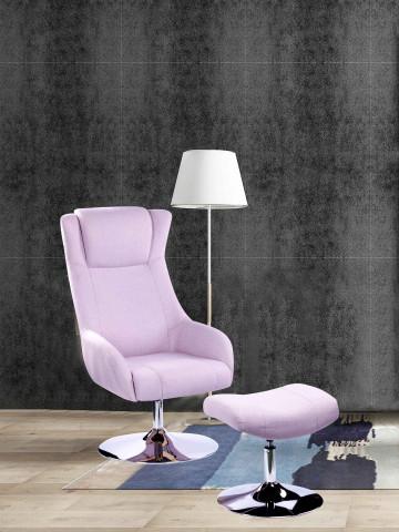 Set fotoliu cu taburet tapițat Sit&Chairs roz