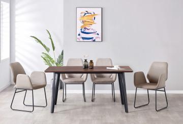 Set masa din MDF cu 4 scaune din imitatie de piele 160x90x76 cm/60x60,5x89,5 cm maro/gri deschis