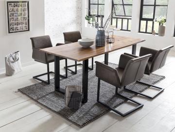 Set masa dreptunghiulara din lemn de salcam cu 4 scaune din piele artificiala maro inchis 160x85 cm
