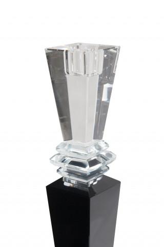 Suport lumanare din sticla de cristal Lavenda III, negru