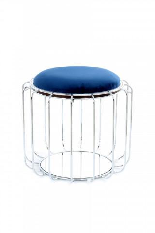 Taburet tapitat/masuta de cafea rotund/a Comfortable 50x50x45 cm albastru închis