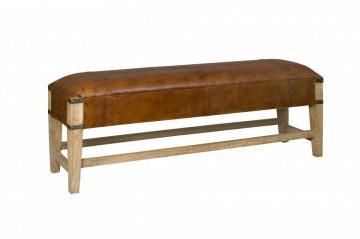 Bancheta din lemn natural cu insertie din piele