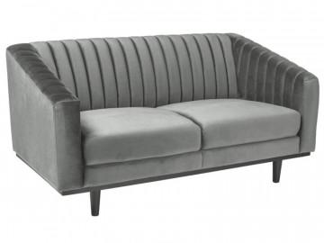 Canapea din catifea Asprey gri, 2 locuri
