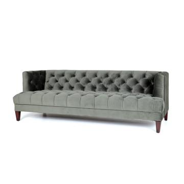 Canapea din catifea Caro, 3 locuri, verde