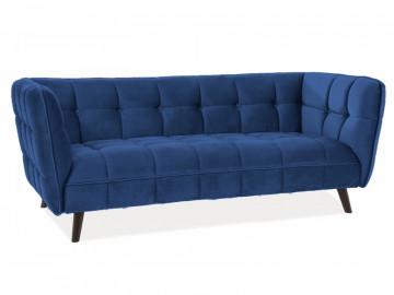 Canapea din catifea Castello albastru inchis, 3 locuri