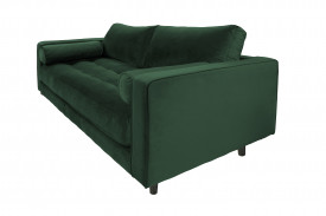 Canapea din catifea Miller, 2 locuri, verde 100x185x84 cm