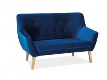 Canapea din catifea Nordic albastra, 2 locuri