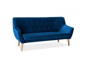 Canapea din catifea Nordic albastra, 3 locuri