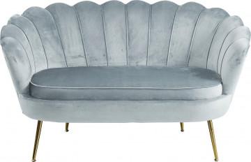 Canapea din catifea Shell gri deschis, 2 locuri