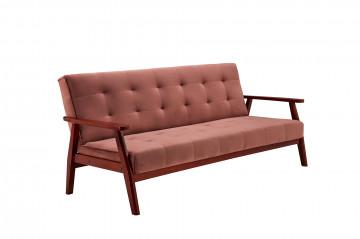 Canapea extensibilă din catifea cu cadru din lemn de eucalipt roz, 3 locuri