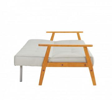 Canapea extensibila din lemn masiv, gri deschis, 3 locuri