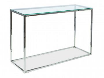 Consola din sticla cu cadru metalic argintiu Hilton 78 x 120 x 48 cm