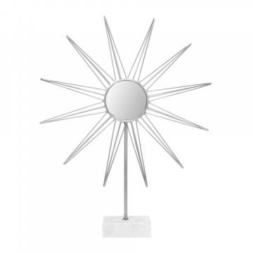 Decoratiune din metal Ajey, argintiu/alb