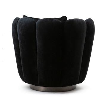 Fotoliu rotativ tapitat cu pernă Milu negru